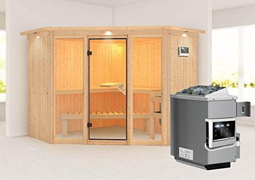 Flora 2 - Karibu Sauna inkl. 9-kW-Ofen - mit Dachkranz -