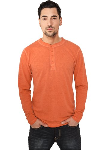 Urban Classics TB479 Spray Dye Henley L/S Tee Regular Fit Round Neck Hummer S S/s Hummer