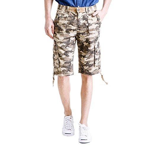 Rmine HerrenCargo Shorts Camouflage Kurz Hose (W40/4XL, Khakicamo)
