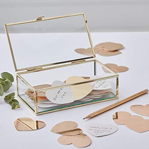Glasbox Gold Gästebuch Hochzeit Alternative/Ringbox