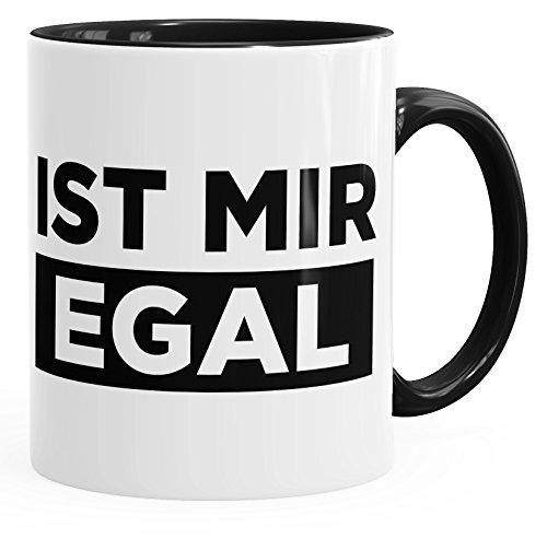 Kaffee-Tasse mit Spruch Ist mir Egal Spruch-Tasse mit Innenfarbe MoonWorks® schwarz unisize