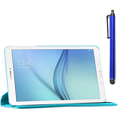 ebestStar - kompatibel Samsung Galaxy Tab E 9.6 Hülle T560, T561 Rotierend Schutzhülle Etui, Schutz Hülle Ständer, Rotating Case Cover Stand + Stift, Blau [Tab: 241.9 x 149.5 x 8.5mm, 9.6\'\']