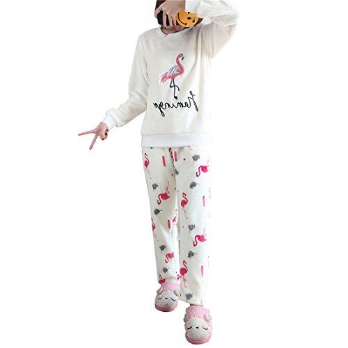 GWELL Damen Pyjama Flamingo Motiv Schlafanzug Set Flanell Zweiteiliger Langarm Nachtwäsche Winter XL - Flamingo Pyjama