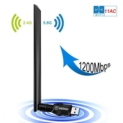 ANEWISH 1200Mbps Adaptador Wifi USB 3.0 Tarjeta Red WiFi Dongle con Antena de 5dBi Receptor WiFi para PC Dual Band 2.4G / 5G 802.11 ac Soporte Windows 10/8 / 8.1 / 7 / Vista / XP / 2000/Mac OS
