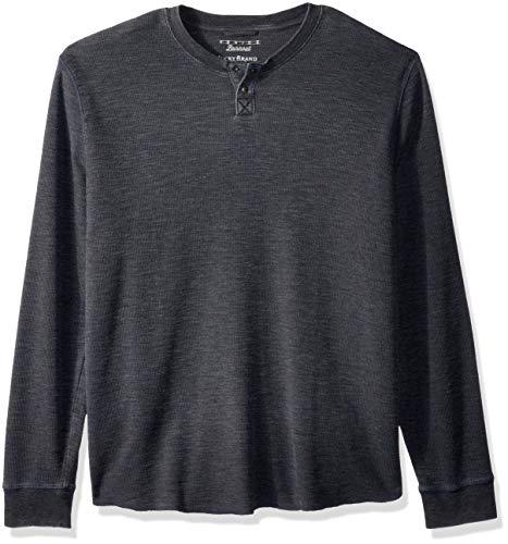 Burnout-thermal Shirt (Lucky Brand Herren Venice Burnout Thermal Henley Shirt, Schwarz - Pirate Black, Klein)