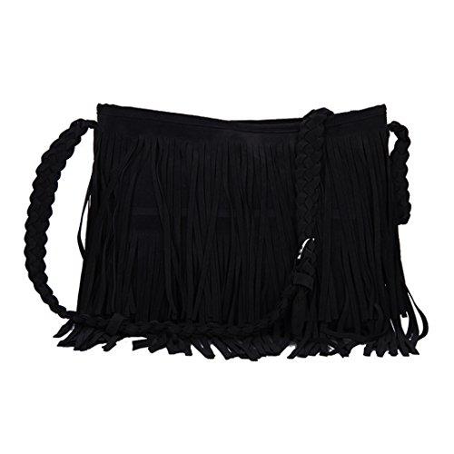Mega Umhängetasche mit Fransen Damen Schultertasche Fransentasche aus Kunstwildleder für Frauen (Schwarz)