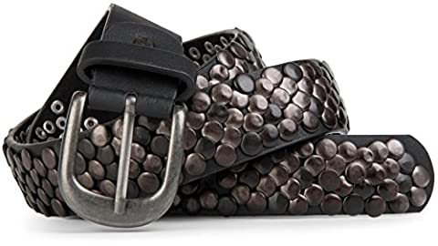 styleBREAKER real Vintage Style Nieten Gürtel mit echtem Leder, kürzbar