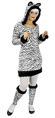 Zebra Kostüm Sexy - Zebra Kostüm für Damen Gr. 36 38 - Hochwertiges Damenkostüm für Theater, Karneval oder Mottoparty