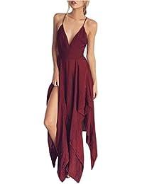 Cinnamou Vestido largo del vestido del color sólido con cuello en V de las mujeres atractivas
