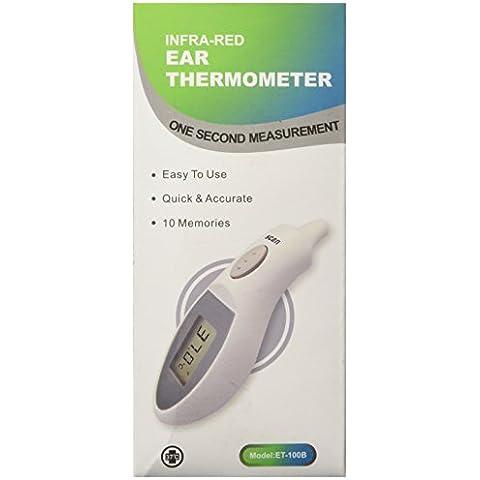 Cor Vital BEST - Termometro auricolare digitale a infrarossi per neonati, adulti e bambini,  rileva la temperatura in un secondo e senza bisogno di sonde, con funzione di memoria delle ultime 10 misurazioni, batteria e astuccio incluso