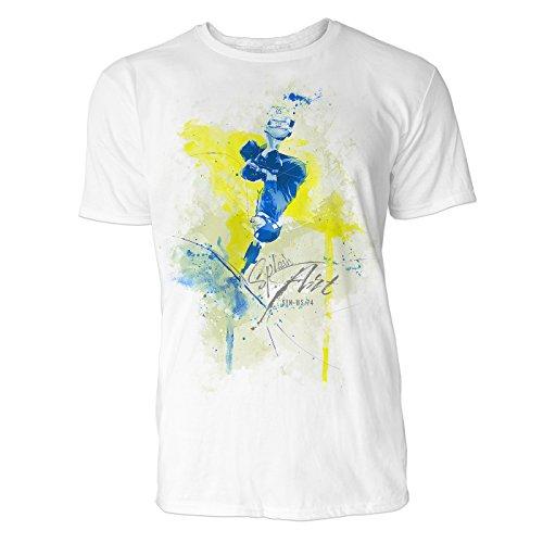 Skateboarder kopfüber Sinus Art ® Herren T Shirt ( Weiss ) Crewneck Tee with Frontartwork (Skateboard Von Bam Margera)