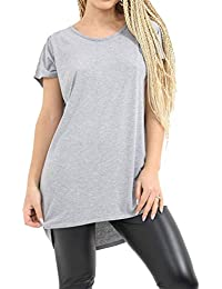 159e281b5 Islander Fashions Womens Plain High Low Dip Dobladillo Baggy Top Ladies  Batwing Manga Oversized Camiseta pequea