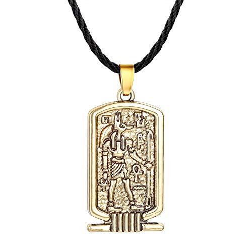 DADATU Halsketten für Herren Frauen Anubis Anhänger Halskette Alten Ägypten Religiösen Schmuck Ägyptischen Hieroglyphen Awesome Männer Halskette Silber Ägypten Charme (Machen Anubis Kostüm)