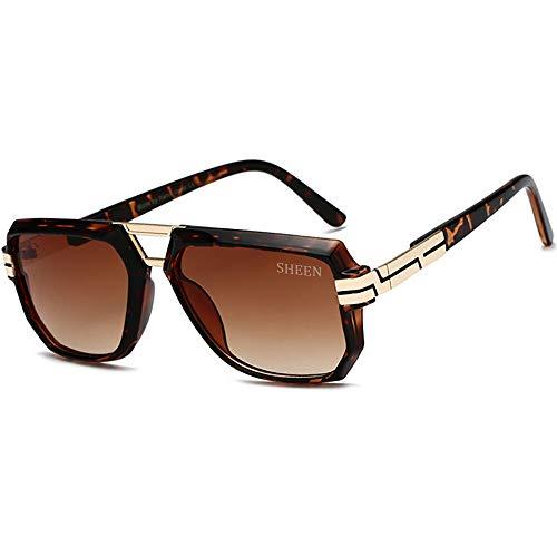 SHEEN KELLY Retro sonnenbrille metall gold flat top - sonnenbrille luxuriöse für männer frauen