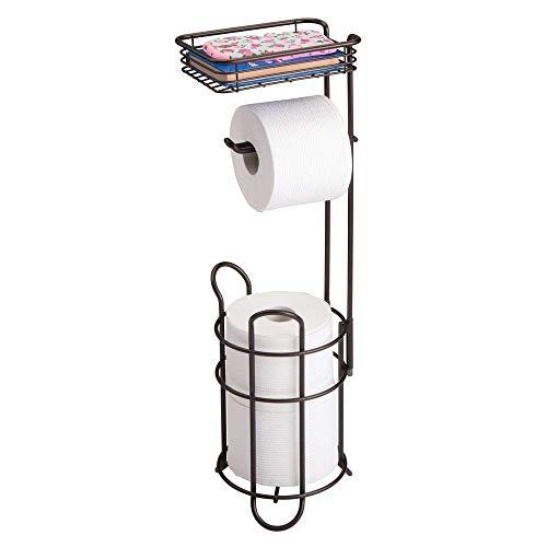 Toilettenpapierhalter ? eleganter Papierrollenhalter aus Metall ? WC-Rollen-Halter mit Regal ? praktische Aufbewahrung fürs Badezimmer ? Bronze -