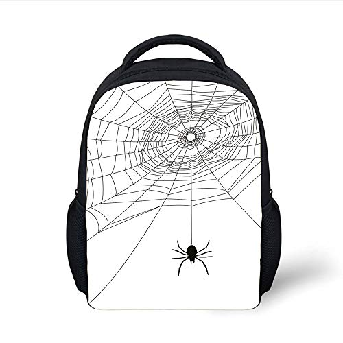 Kids School Backpack Spider Web,Complex Doodle Net Sticky Gossamer Hunting Insect Catch Danger Prey Spooky Decorative,Black White Plain Bookbag Travel Daypack