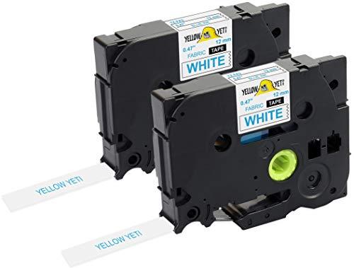 Yellow Yeti 2 Cassette Nastri in Tessuto TZe-FA3 TZ-FA3 blu su bianco 12mm x 3m Etichette compatibili per Etichettatrici Brother P-Touch PT-1000 PT-H100R PT-H100LB PT-H107B PT-H110 PT-D400 PT-D600VP