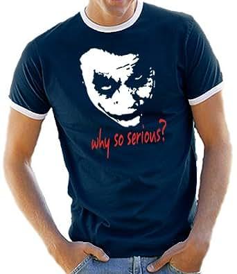 Joker - Why so serious? Ringer / Kontrast T-Shirt Navy/White, M