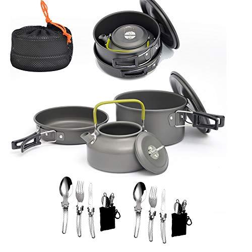 CHUDAN Wandern Kochgeschirr Verwirrung Set 10 Stück, Leichter Aluminium-Topfkessel aus Edelstahl mit Zwei Kits Gabelmesser Für/Backpacking/Camping/Trekking
