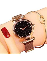 Acnos Black Round Diamond Dial with Latest Generation Rosegold Magnet Belt Analogue Watch for Women Pack of - 1 (DM-ROSEGOLD08)