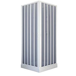 Mampara de ducha de 75x 75cm de dos lados plegable, apertura central, de PVC H185