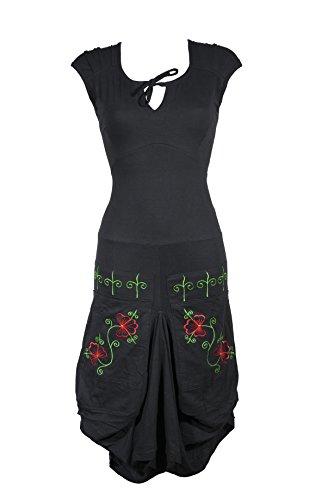 m Kleid mit verspielten Floral Muster und bunten Stickereien - Boho Chic - SAGA (L/XL) (Ausgefallenes Kleid Hippie)