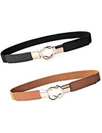 2pcs de las mujeres elásticos de la cintura del cuero de metal Cinturón  fino elástico retro bd560cf2cbc5
