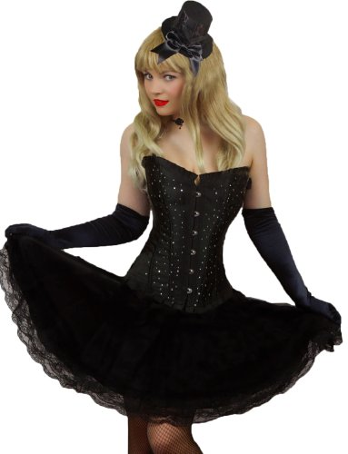 Yummy Bee - Korsett mit Tutu Rock Burleske Karneval Fasching Tänzerin Kostüm Damen Größe 34 - 52 (SchwarzRock, 40-42)