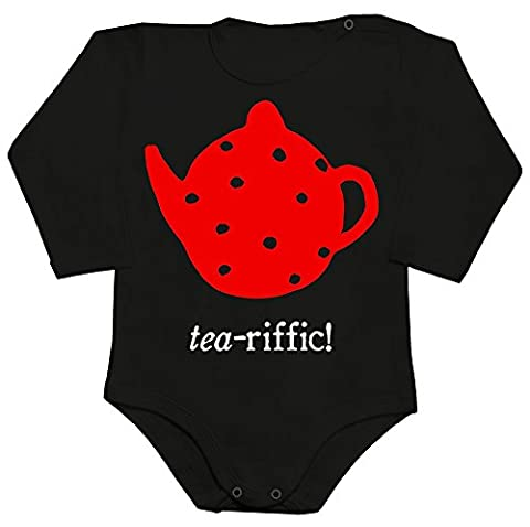 Tea-riffic Red Teapot Baby Romper Long Sleeve Bodysuit Extra Small