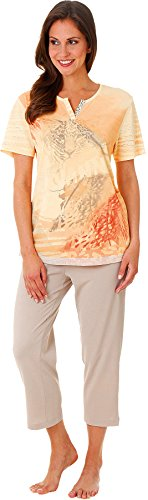 Hajo - Damen Schlafanzug kurzarm ( 7/8 Pyjama ) apricot / taupe Klima Komfort apricat / taupe