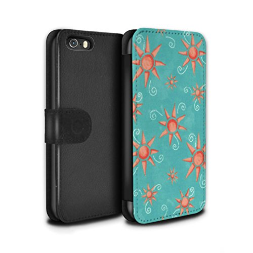 Stuff4 Coque/Etui/Housse Cuir PU Case/Cover pour Apple iPhone 5/5S / Violet/Rose Design / Motif Soleil Collection Turquoise/Rouge