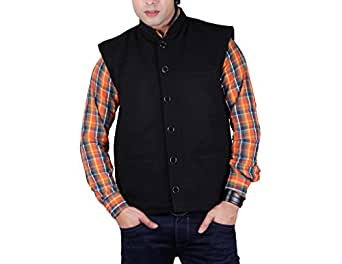 Vivid Bharti Men's Woolen Nehru Jacket (ri73_Black_Small)