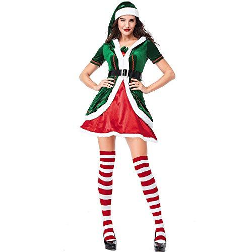 Damen Kostüm Santa's Helper Little - XIADE Damen Weihnachten Elf Kostüm 3 Stück Set Kleid Hut Socken Santa's Little Helper Sexy Santa Cosplay Kostüm,XL