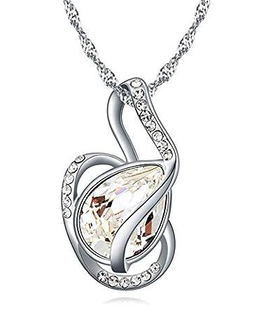 FANSING Bijoux Cadeau Autrichien Cristal Pendentifs Colliers Pour Femme Blanc