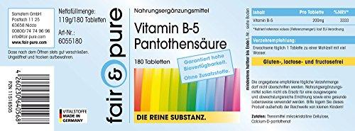 Vitamin B5 200mg Pantothensäure – vegan – ohne Magnesiumstearat – 180 Vitamin B5 Tabletten