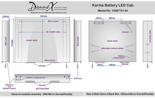 Karma LED-beleuchteter Batterie Badezimmer Spiegelschrank mit Zugschnur k144 - 5