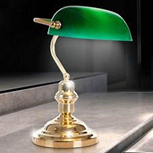 Antike Banker Lampe (Nostalgie Antik Retro Tisch Lampe Banker Leuchte Schreibtischlampe Antique grün 2491K)