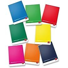 Pigna Colours 02298864M, Quaderno formato A4, Rigatura 4M, quadretti 4 mm per 4° e 5° elementare medie e superiori, Carta 80g/mq, Pacco da 10 Pezzi