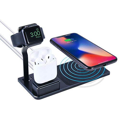 LayOPO Kabelloses Ladegerät, 3-in-1, kabellose Ladestation für Apple-Produkte, iWatch Serie 4/3/2/1/Nike, Airpods, Qi Wireless Charger Pad für iPhone XS/XS Max/Xr/X /8/8 Plus -