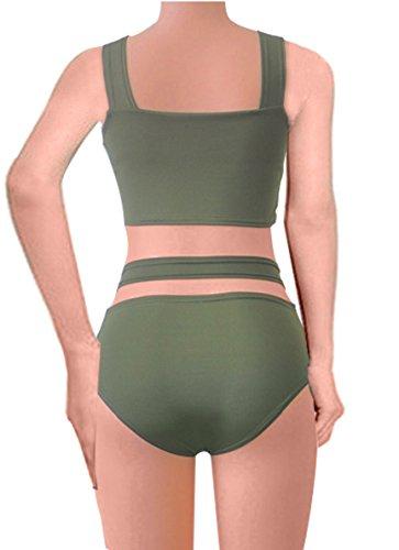 DoubleYI Frauen Bikini-Satz Verband-Push-Up Bademode Badeanzug Armeegrün