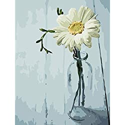 Shukqueen - Kit de Pintura al óleo para niños Principiantes, diseño de Margaritas Blancas