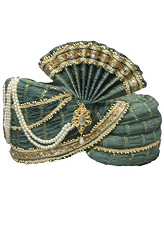 Sonisha MPG7007 Grün und Gold Indian Turban, Wedding Pagri, Safa, Bollywood Hat Poly Turban