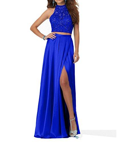 Charmant Damen Damen Royal Blau Steine Langes Abendkleider Promkleider Abschlussballkleider Zweiteilig 2018 Neu-38 Royal Blau