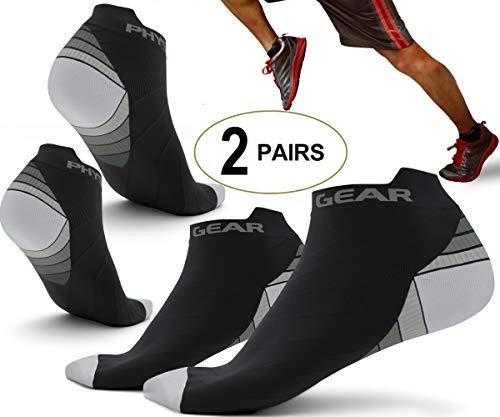 Physix Gear Sport Kompressions Laufsocken für Frauen & Männern - Die besten Sport Halbsocken in unsichtbarem Design - Premium Qualität für ganztägigen Komfort (Gry BLK L/XL) -