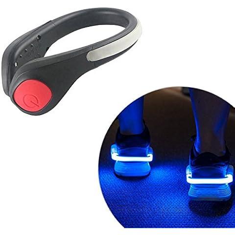IPUIS par de clips de zapatos LED RGB azul, verde o rojo Super luminoso, LED luz de seguridad para la carrera, bicicleta, marcha, jogging, Equitación y todos los deportes de
