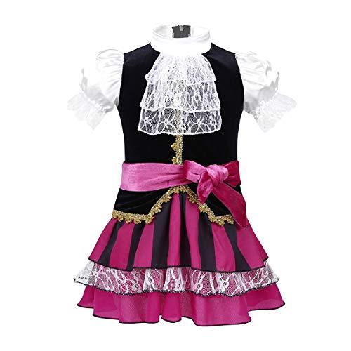 (dPois Baby Mädchen Kleid Piraten Kostüm Kleid+Kopftuch+Gürtel Kostüm für Halloween Cosplay Fasching Karneval Verkleidung Babykleidung Kinderbekleidung Gr.50-98 Schwarz&Rose 50-68/0-6 Monate)