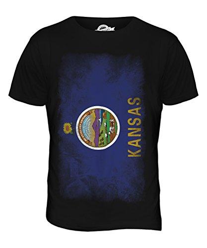 CandyMix Bundesstaat Kansas Verblichen Flagge Herren T Shirt Schwarz