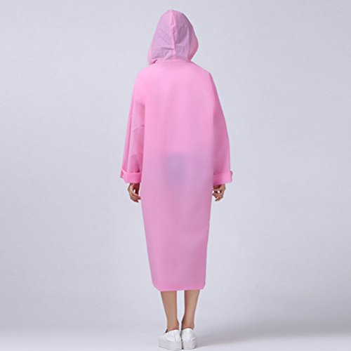 Zhhlinyuan Adult Outdoor Waterproof PVC Poncho Hooded Long Sleeve Raincoat Light Pink