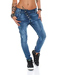 10243 Fashion4Young Damen Jeans Hose Boyfriend Haremsjeans Haremsstyle Röhre Damenjeans pants