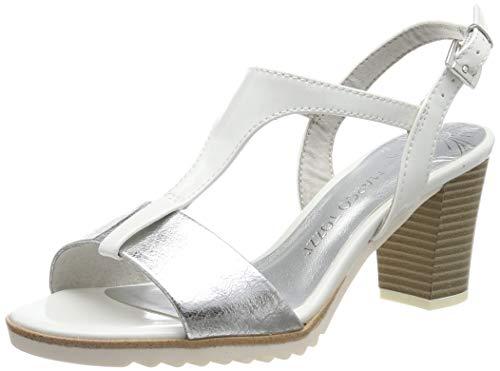 MARCO TOZZI 2-2-28732-22, Sandali con Cinturino alla Caviglia Donna, Bianco (White Comb 197), 38 EU